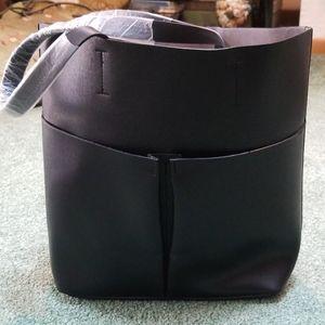 Neiman Marcus black leather tote bag NWOT
